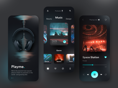 Playme Podcasts App dark ui clean song onboarding music player podcast app photo gradient concept ux ui design