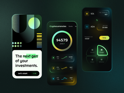 Investment App fintech trading trade gradient mobile ui mobile app stock market investment app invest cryptocurrency financial app crypto investments colors app minimal concept ux ui design