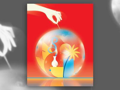 Cache Bubble design india ram cache comfort vector gradient illustraion art poster