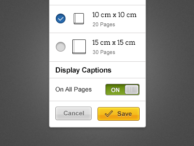 Pop Up Setting pop up buttons checkbox