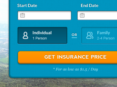 Get Insurance Price weekend inc button plan option date form