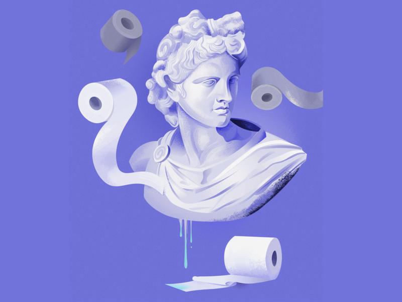 DON'T PANIC! covid19 coronavirus corona toiletroll toiletpaper panicbuying statue apollo vector illustration