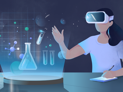 Virtual Reality the future of Online Learning hologram student artificial intelligence illustration online learning science virtual reality