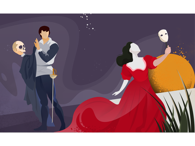 To be or not to be - Drama illustration illustrator prince theatre mask dress love play hamlet shakespeare dramatic drama