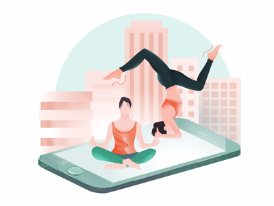 Yoga & Phone Mat plates lifestyle vector digital art editorial illustration yoga pose yoga illustration healthy living well-being wellbeing yoga mat yoga