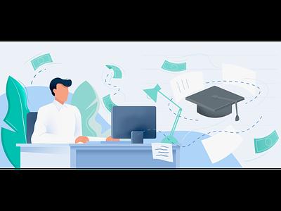 Can degree apprenticeships bridge the adult skills gap? student working blog illustration edtech digitalillustration editorialillustration illustration illustrator vector