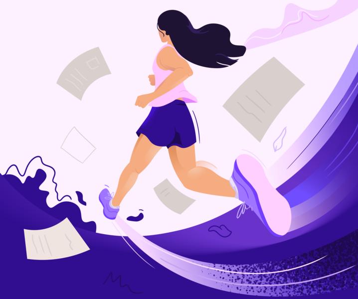 Run & Revise runner jogging hiking trainer sports run active running mental health illustrator vector