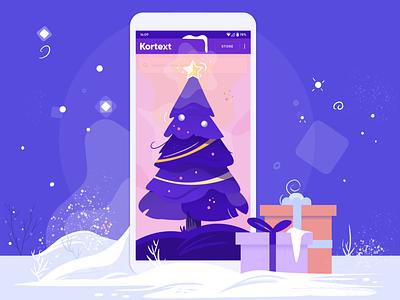 Happy Holidays from Kortext new year happy new year screen app phone procreate illustraion snow christmas tree merrychristmas christmas