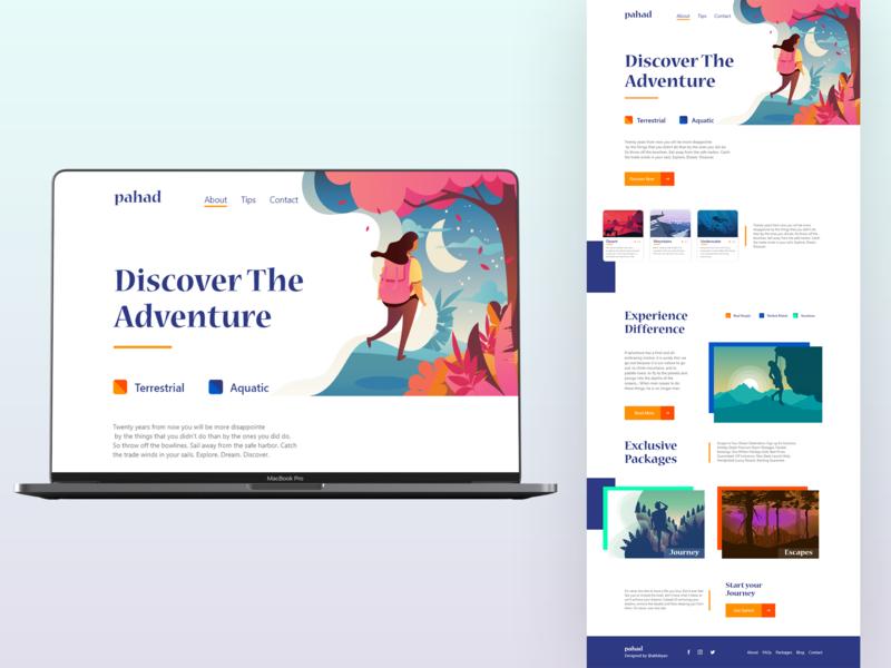 pahad_Website illustration typogaphy adventure website ux ui design ui deisgn