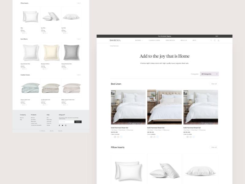 Product List pillow bedding website design app web ux uiux interface ui design ux design ui deisgn