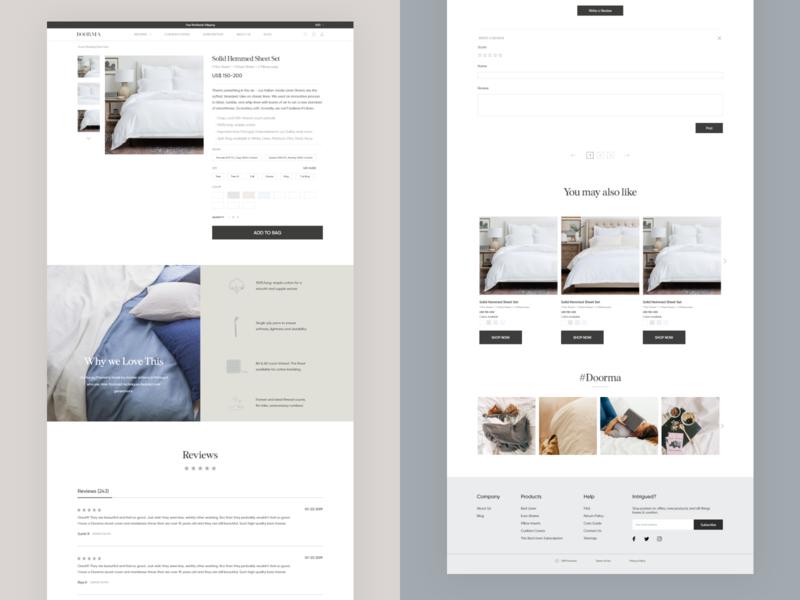 Product Details Page product details bedding website design web ux uiux interface design ui ux design ui deisgn