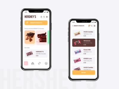 Hershey's Chocolate chocolates interface app uiux design ux design ui deisgn ui