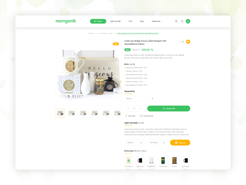 Monthly organic box subscriptions Product Page - UI/UX ux uiux ui responsive organic product page product e-commerce box design box