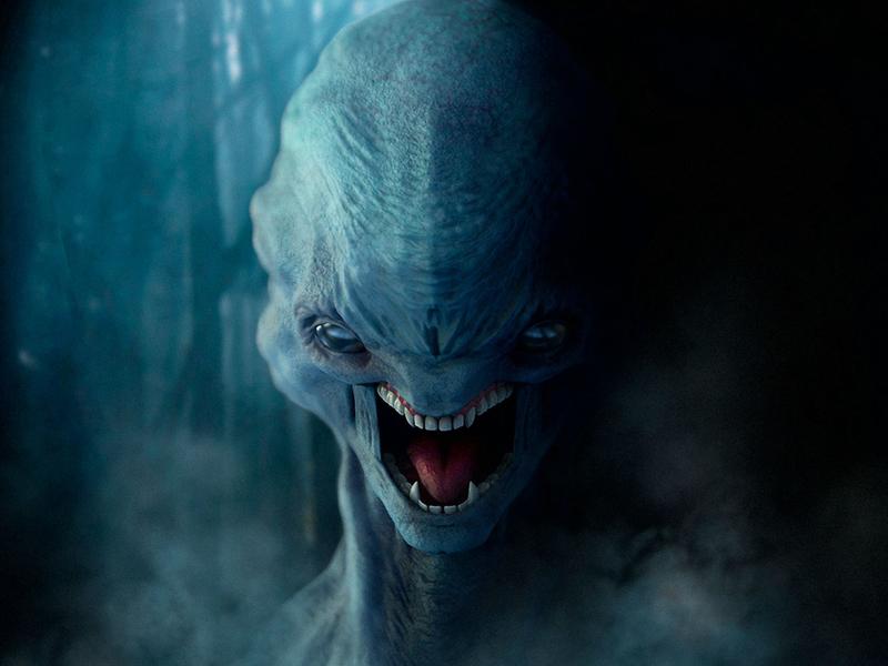 Twilight Creature photoshop keyshot zbrush sculpting compositing fog dark alien aliens lighting rendering 3dmodelling