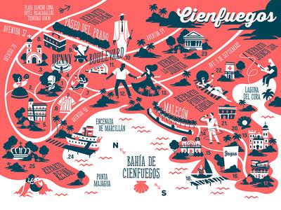 Map of the city of Cienfuegos, Cuba