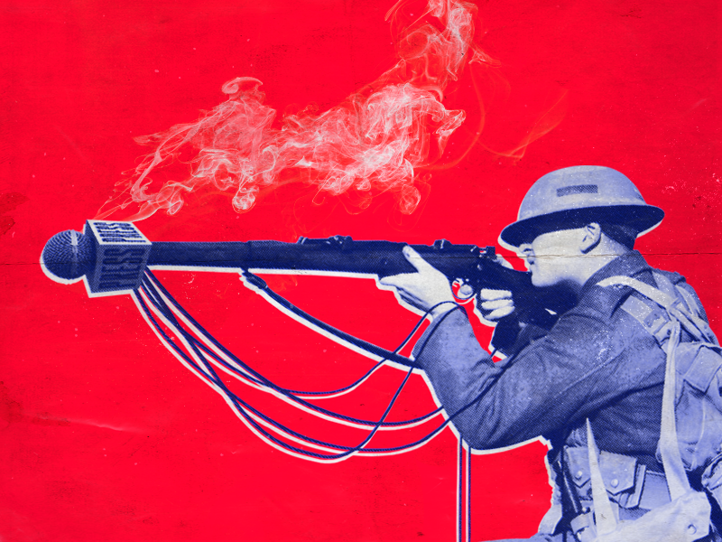 Press and communication as a military category... massmedia soldier red collages military comunication press 2019 politics dominiocuba graphicdesign design inspiration illustration cuba