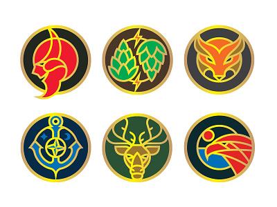 Tangled Roots Brewing Badges craftbeer beer branding beer branding vector illustrator logo illustration design