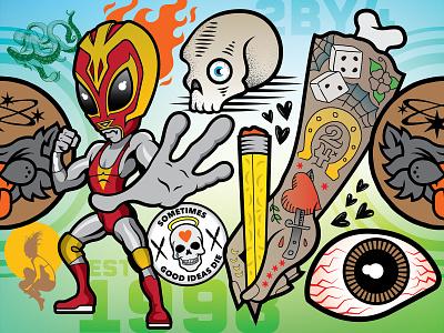 Character Explosion weird wall art agency agency branding branding vector illustrator illustration design