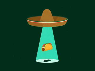#3 alejandromilàstudio illustrator vector mexican hat ufo x files tacos mexico conceptual illustration illustration