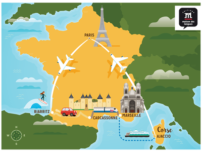 A trip to France. cartoon drawing map alejandromilastudio vector learningbooks marseille carcassonne biarritz paris france illustration