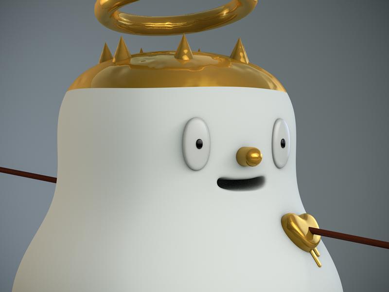 He's in love. gold design cupid saint love crazy heart character design character c4d 3d cinema4d illustration