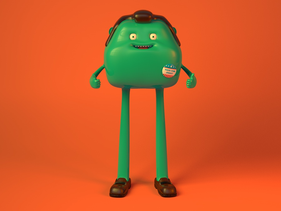 Vote For Jimmy 1/3 alejandro milà c4d digitalart character design character cinema4d 3d illustration