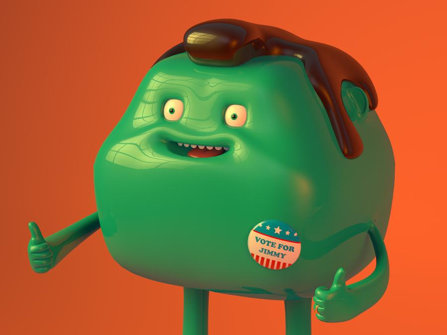 Vote For Jimmy 2/3 jimmy vote digitalart cinema4d character design 3d c4d illustration