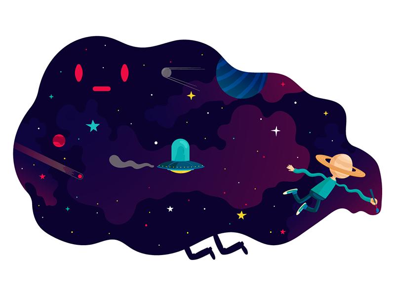 New Alejandro Mila Studio's Website Launch art universe space character design drawing vector illustrator alejandromilàstudio website banner website illustration