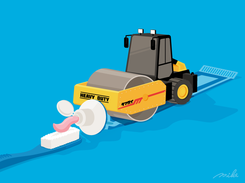 #12 draw road roller toothpaste doodle illustrator drawing vector conceptual illustration illustration
