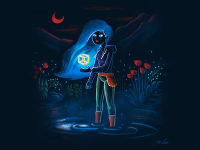La Noche Del Cubo Imposible procreate ipad pro character drawing character design illustration