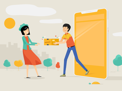 """Online Shopping"" conceptual illustration vector character drawing illustrator illustration"