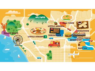 Los Angeles Foodie Map alejandromila drawing design illustrator food vector map foodie los angeles map vector illustration