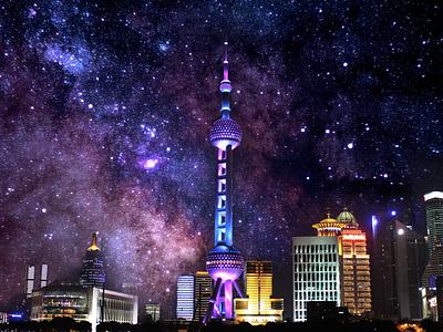 Shanghai by Night travel photography photoshop doubleexposure china shanghai
