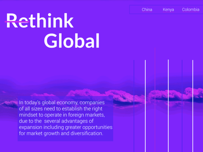 Rethink Global hero image landing page business global international markets
