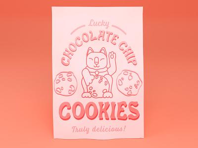 Chocolate Chip Cookies pastel cat dribbbleweeklywarmup product mockup packaging 3d blender branding typography logo challenge graphic design