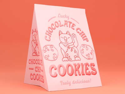 Chocolate Chip Cookies pastel cat dribbbleweeklywarmup product mockup packaging 3d blender branding typography logo challenge graphic design
