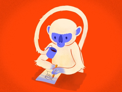 Inner monkey coffee drawing character animal monkey procreate texture color illustration