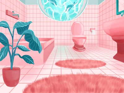 Bathroom - environment concept game concept game concept art concept environment pastel color tiles bathroom pink pastel illustration color
