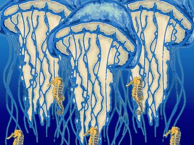 Jelly fish and seahorses illustration digital art