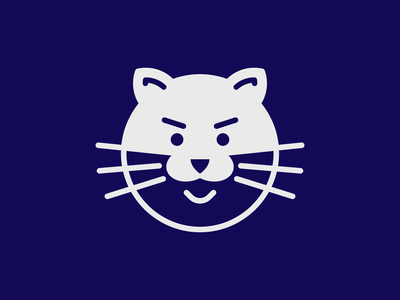 Catman clean inversed negative space simple illustration logo cat