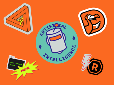Dodo Pizza Stickers orange box new registered lightning robot ai artificialintelligence collection illustration pack stickers pizza dodo