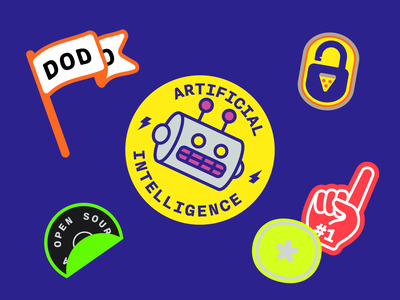 Dodo Pizza Stickers 2 first number 1 hand open source lock flag robot pack collection stickers illustration artificial intelligence ai pizza dodo