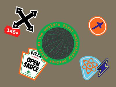 Dodo Pizza Stickers 3 pizza box tag lightning molecular planet world open source open sauce arrow golden artificial intelligence ai pack stickers illustration pizza dodo