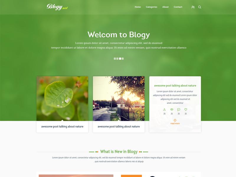 Blogy blog design ux ui web green whit orange