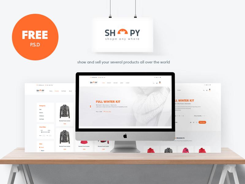 Shopy - Freebie Ecomerce PSD Template web psd freepsd freebies freebie template download free ecomerce ui ux