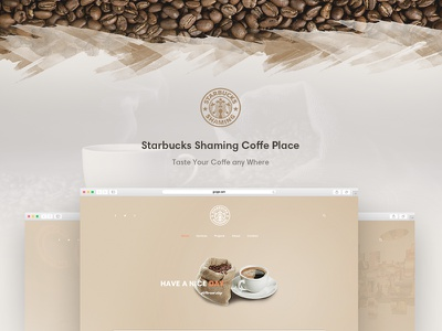Starbucks - Coffeeshop Template social search menu featured header footer contact about services home ui ux