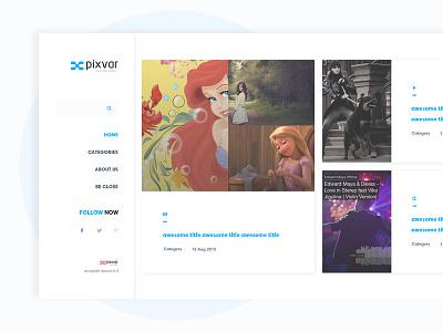 X-Blog  whit layout type social post menu items filter onepage blog ui ux