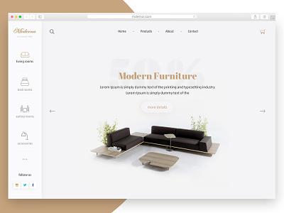 Moderna - Minimal Furniture Ecommerce   onepage modern search cart product simple flat ecommerce web ui ux
