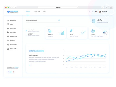 Shop Brian - Dashboard userinterface userexperiance webapp services home header menu web design ui ux