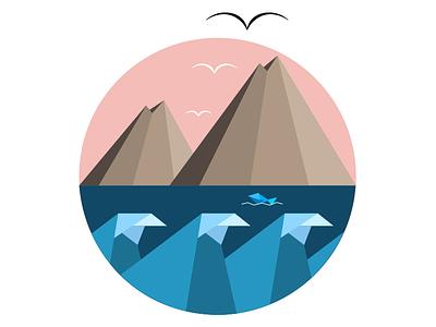Lake Atitlan geometric design graphic design logo design geometric waves logo vulcanos geometric